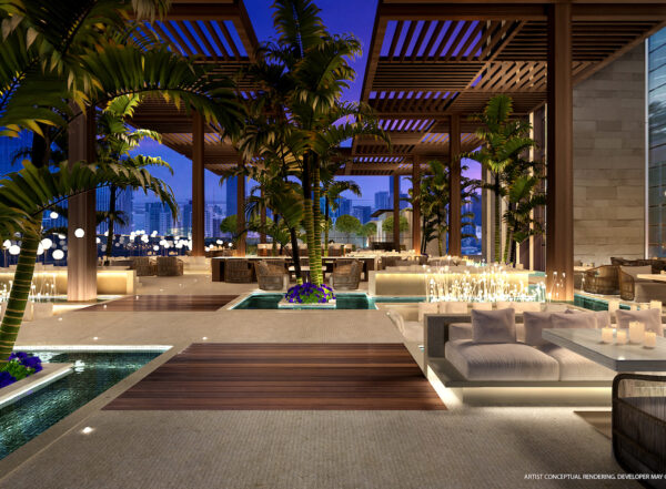Legacy-Area de Jardin y piscina-VIP Miami Real Estate-Venta de apartamentos